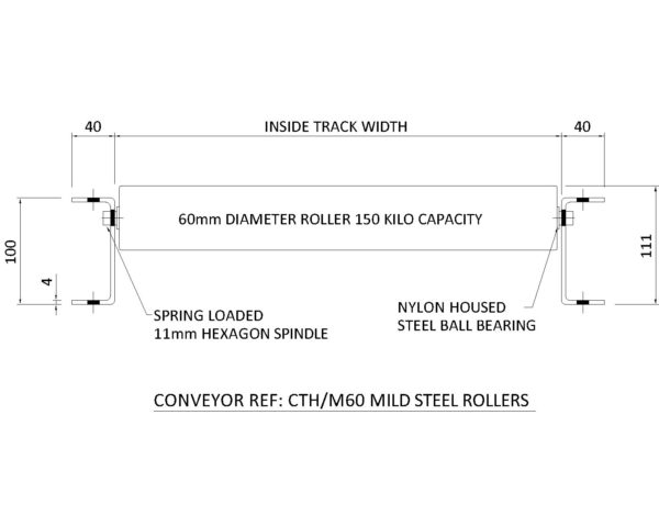 Painted Steel Gravity Roller Conveyor – CTH M60 Technical Drawing