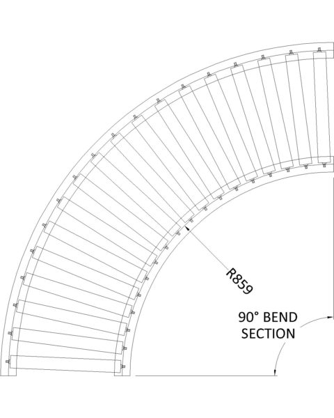 Painted Steel Gravity Roller Conveyor – Bend ZTL PF1 Technical Drawing