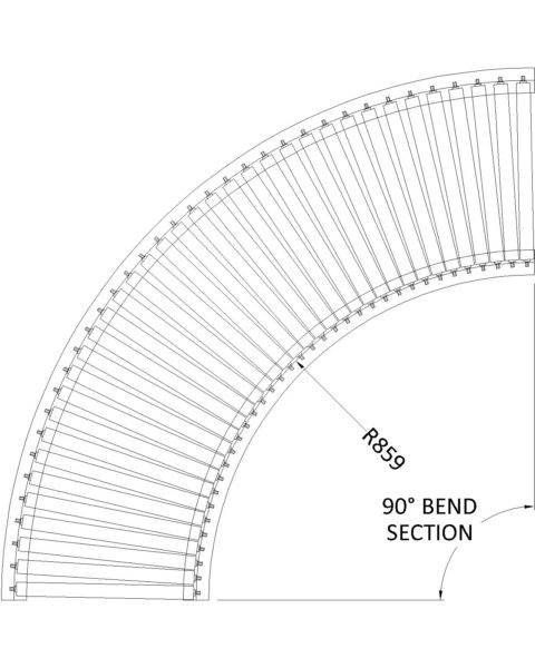 Painted Steel Gravity Roller Conveyor – Bend ZTL PC1 Technical Drawing