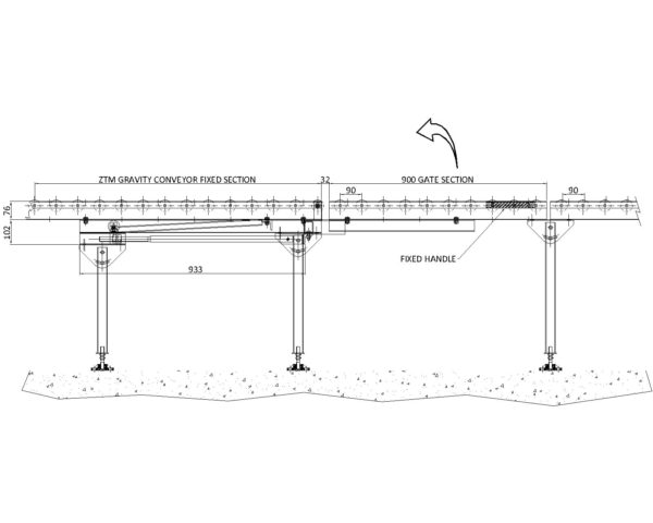 Painted Steel Gravity Roller Conveyor – Lift Up Gate Section ZTM Technical Drawing