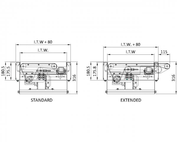 Painted Steel Belt Under Roller – Belt Transfer Technical Drawing