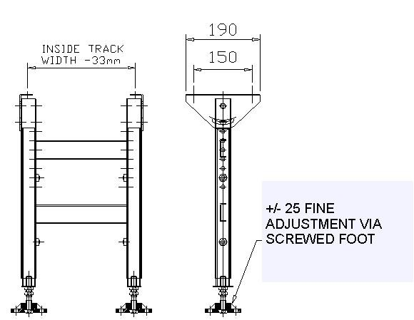Painted Steel Gravity Roller Conveyor – Support Stands Technical Drawing