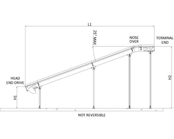 Painted Steel Belt Conveyor – L Type Technical Drawing
