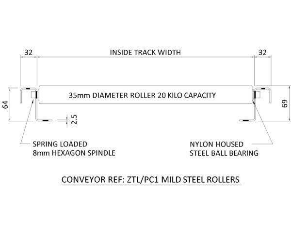 Painted Steel Gravity Roller Conveyor – Light Duty ZTL PC1 Technical Drawing