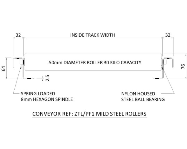Painted Steel Gravity Roller Conveyor – XU60 PF1 Technical Drawing