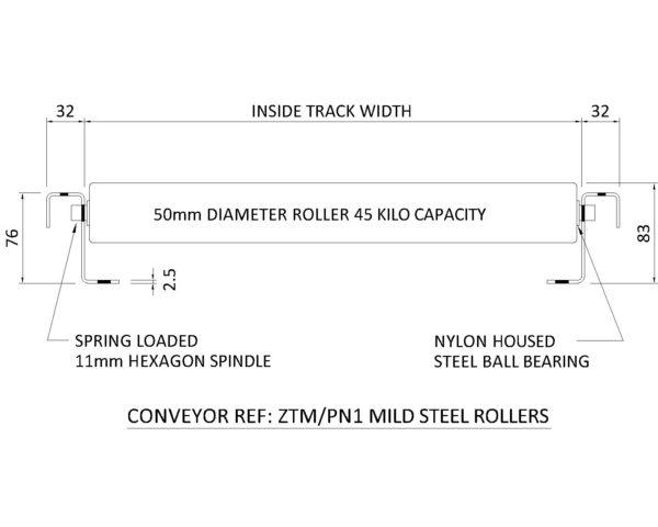 Painted Steel Gravity Roller Conveyor – Medium Duty ZTM PN1 Technical Drawing