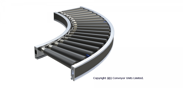 Painted Steel 24V DC Powered Conveyor – Curves Technical Drawing