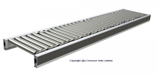 Painted Steel 24V DC Powered Conveyor – Straights – Roller and Belt Over Roller Technical Drawing